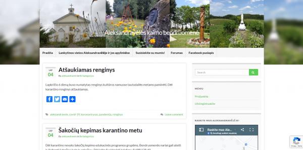 Atnaujinta Aleksandravėlės kaimo bendruomenės svetainė garsins kraštą
