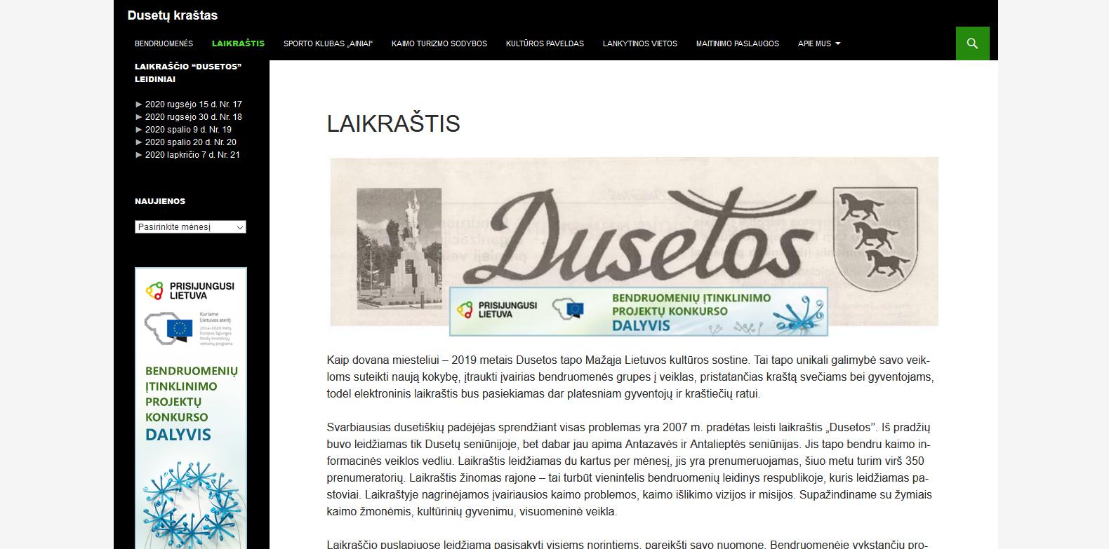 Dusetų krašto skaitmeninis laikraštis – šių dienų ir ateities žmonėms